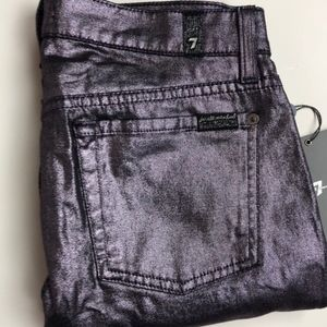 7 FAM Skinny Liquid Metallic Rose Metal Jean NWT